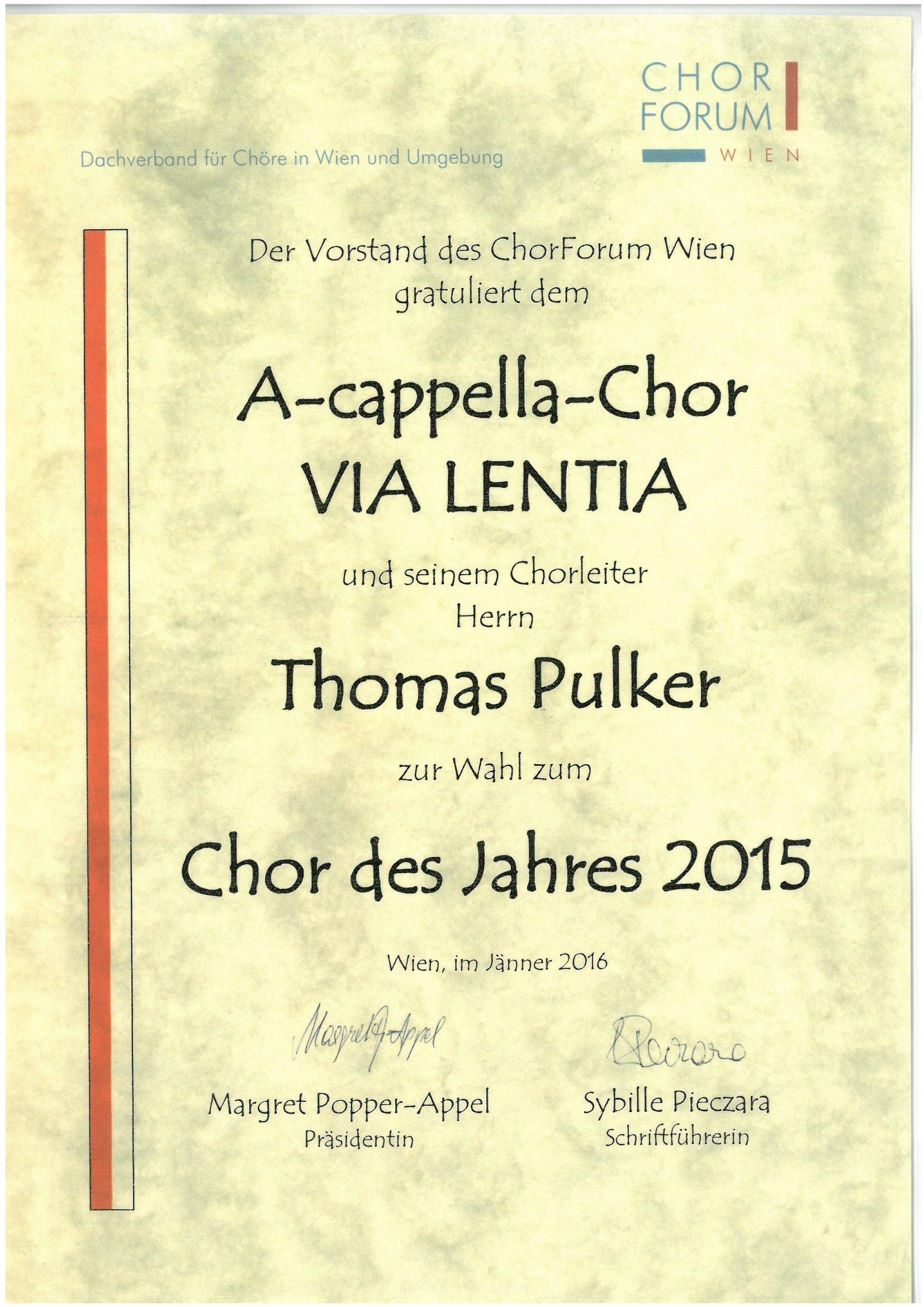 Chor des Jahres 2015_Urkunde